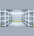 cold room in warehouse with empty metal racks vector image