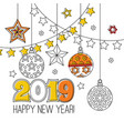 congratulation card happy new year 2018 wreath vector image vector image