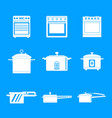cooker oven stove pan icons set simple style vector image vector image