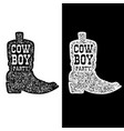 cowboy party cowboy boot isolated on white vector image vector image