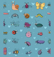 cute cartoon insects funny butterflies beetles vector image