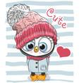 cute cartoon penguin girl in a hat vector image vector image