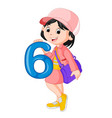 cute child holding balloon with number six vector image vector image