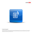 delete icon - 3d blue button vector image