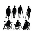 disabled people activity silhouettes vector image vector image