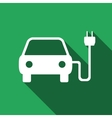 Electric powered car symbol icon with long shadow vector image