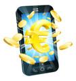euro money phone concept vector image vector image
