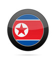 flag of north korea shiny black round button vector image vector image