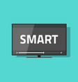 flat screen smart tv with video icon led vector image vector image