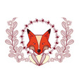 fox with leaves vector image