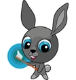 funny cartoon bunny with toothbrush vector image vector image
