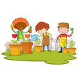Gardeners planting tree and flower in garden vector image