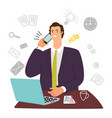 guy manager secretary assistant businessman with vector image vector image