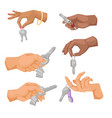 hand holding key apartment selling human vector image vector image