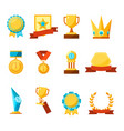hanging medals glass awards gold cups and crowns vector image vector image