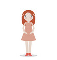 happy redhead girl in dress blowing vector image