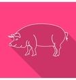 Icon Contour pork Flat style long shadows vector image