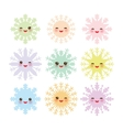 Kawaii snowflake set blue mint orange pink lilac vector image vector image