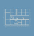 kitchen furniture front view in linear style vector image