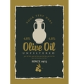 label for olive oil with a clay jug vector image vector image