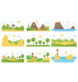 landscape cartoon flat concept nature icons vector image vector image