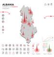 map albania epidemic and quarantine emergency vector image vector image