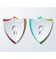 modern shield set on sample background vector image vector image