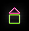 neon house icon on building wall background home vector image vector image