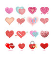set colored hearts in different shapes and vector image