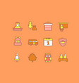 set simple line icons back to school vector image