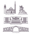 signs in thin line of albania architecture vector image vector image