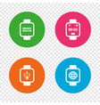 smart watch icons wrist digital time clock vector image vector image