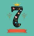 sparkling floral number seven with golden crown vector image