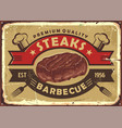 steak house old sign design vector image vector image