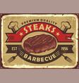 steak house old sign design vector image vector image
