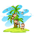 Three monkeys on the island vector image vector image
