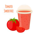 tomato smoothie tomato juice in flat style vector image vector image