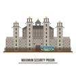 Towers and fence at maximum security prison vector image