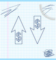 up and down arrows with dollar symbol line sketch vector image vector image