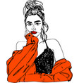 young woman with red lips one line design vector image vector image