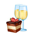 cake with glass of champagne vector image