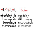 Slim black font and numbers vector image