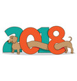 2018-year-of-dog-daschund vector image