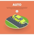 Auto on Road Web Banner Electric Car Icon Object vector image vector image