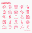 blood donation thin line icons set vector image vector image