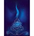 christmas tree on dark blue background vector image