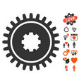 cogwheel icon with dating bonus vector image vector image