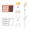 design of furniture and apartment sign set vector image vector image