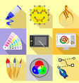 digital drawing icons set flat style vector image vector image