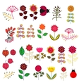 Doodle flowers set vector image vector image